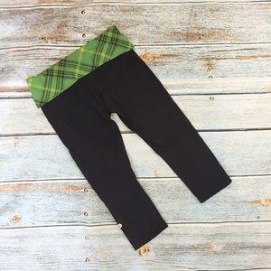 Lululemon Green Tartan Plaid Fold Waist Leggings 6